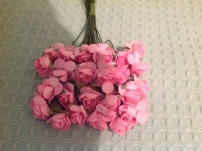 pink paper flowers suitable for card making, bridal craft,