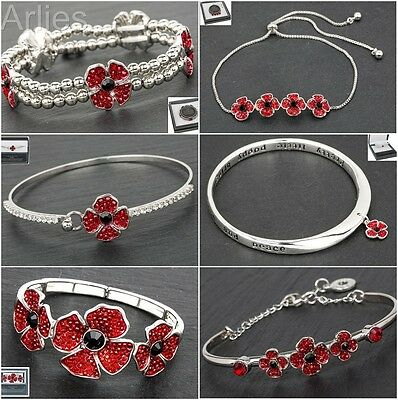 Equilibrium Silver Plated Poppy Remembrance Bracelets  / Bangle Jewellery
