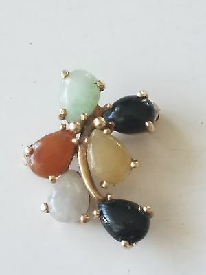 Beautiful Solid 14K Yellow Gold With 6 Multi-Colored Jades Brooch Pin (3.1 Gram)