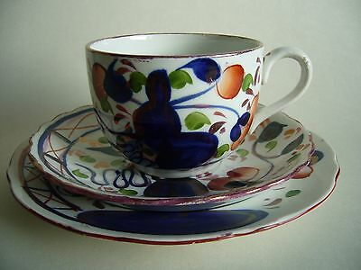 ANTIQUE ALLERTONS GAUDY WELSH TRIO OYSTER PATTERN LUSTRE c1912
