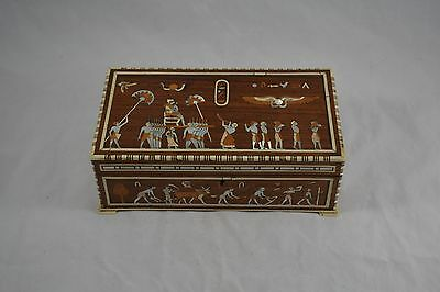 Antique Late 19Th Century Egyptian Revival Inlaid Jewellery / Trinket Box