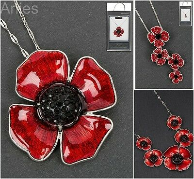 Equilibrium Silver Plated Poppy Remembrance Pendant Necklace
