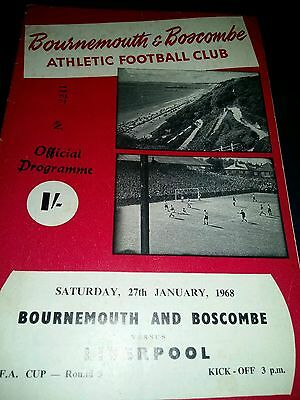 Bournemouth and Boscombe v Liverpool FA Cup Round 3 1968