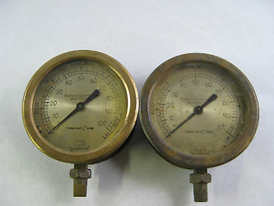 Pair of (2) Antique Richard Dudgeon Mfg. Steam Carriage Steam Railroad gauges