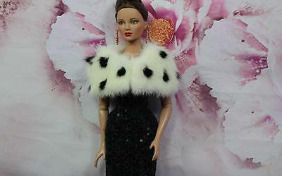"~""Ermine"" White & Black Mink Fur  Capelet for Gene Tyler Sydney dolls~by dimitha"