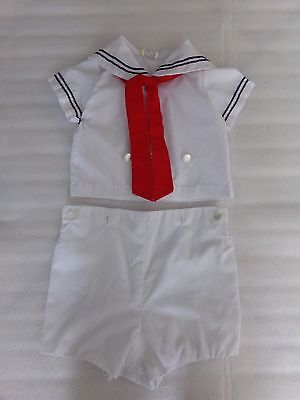 Classic Vintage Boys Sailor Suit Red White Blue Reborn Outfit Size 12 Months 12M