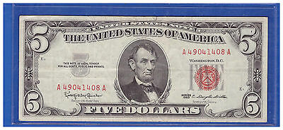 Old Vintage 1963 Series $5 Dollar Bill  Red Seal United States Currency LOTH 360
