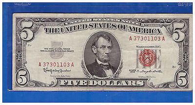 Old Vintage 1963 Series $5 Dollar Bill  Red Seal United States Currency LOTS651