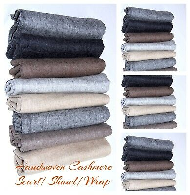 Pure 100% Cashmere Shawl Knit Scarf Pashmina Wrap Nepal Wedding Bridesmaid Woven