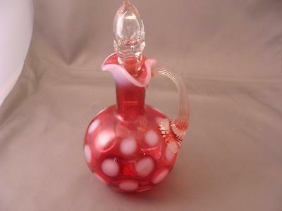 Beautiful Cranberry POLKA DOT CRUET