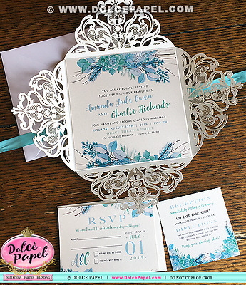 25 Gold Glitter Lace & Teal Floral Twigs Watercolor Laser Wedding Invitations