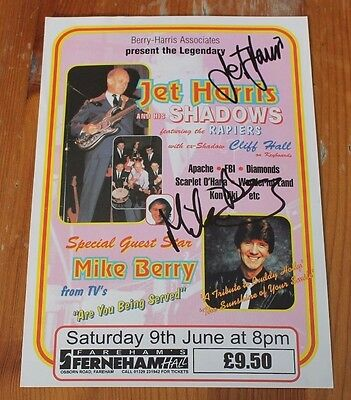 Jet Harris The Shadows & Mike Berry Signed Mini Tour Poster/Flyer