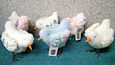 Pastel chick, Stuffed (set of 6) by Petite Noel/Three Jays Imports.  Made in 200