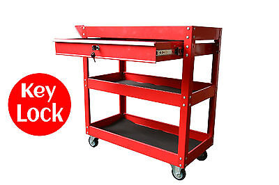 TOOL TROLLEY with DRAWER TOOLBOX TOOL BOX CHEST RED CABINET LOCKABLE MECHANICS