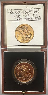 1981 Elizabeth Ii Gold Five Pound Coin With Box And Coa