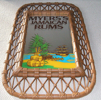 Rare Vintage Myers's Jamaican  Rum Glass Mirror Bar Sign