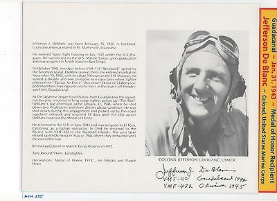 Medal of Honor Recipient~ WWII ~ Jefferson DeBlanc ~ 8x10 Glossy Photograph A+