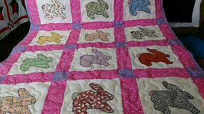 1930s Reproduction Handmade Applique Pieced Bunny Rabbit Animal Baby Crib Quilt
