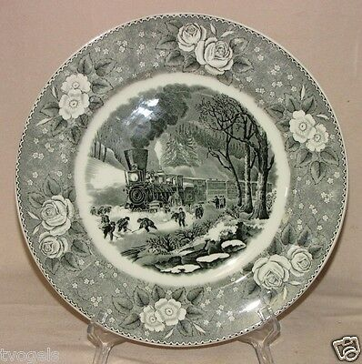 Antique 1920s Adams England China American Railroad Snowbound Winter Scene Plate