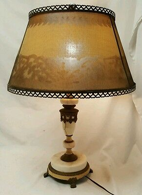 Antique Vintage Brass Alabaster Marble Table Lamp Bear Claw Feet Light U0026  Shade