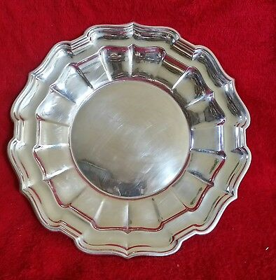"""Vintage Sterling Silver Scalloped Edge Round Tray-325 grams-11"""" - Marked"""
