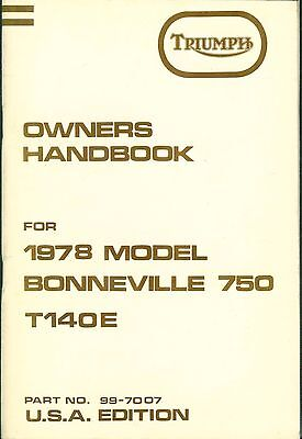 Triumph Owner's Handbook Bonneville 750 T140E USA 1978 Original New Old Stock