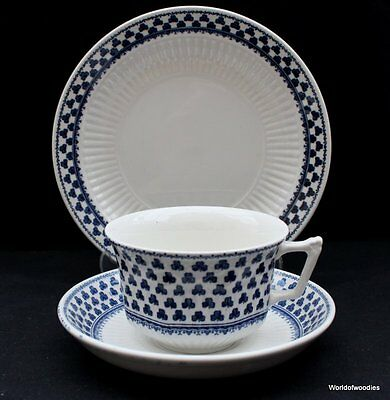 Vintage Adams Brentwood Blue & White Trio Tea Cup,  Saucers & Side Plate