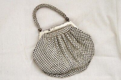 Vintage 1950's Whiting & Davis Silver Mesh Hand Bag / Purse / Clutch