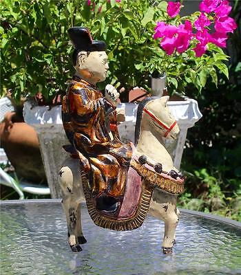 """Fine Carved Wood Polychromed & Lacquered Chinese Official On Horseback14"""" High"""