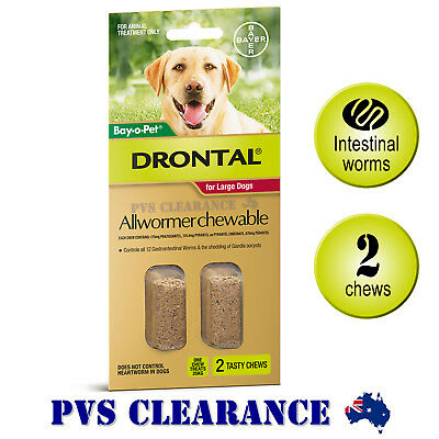 Drontal Allwormer for Large Dogs Up To 35 kg - 2 Chews - Dog Worming