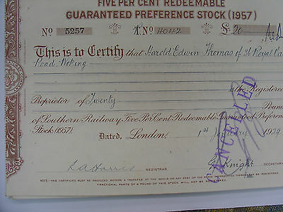 Sr - 5% Redeemable Guaranteed Preference Stock [ 1957 ] Share Certificate