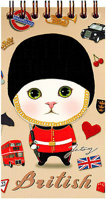 Jetoy Choo Choo Cat Spiral Notebook: British