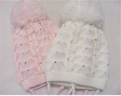 Kinder Lace Girls Knitted Diamonte Pom Pom Bobble Hat with Ties