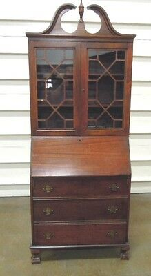 Antique Secretary Desk Wood with  Bookcase