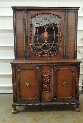 French Hutch Cabinet Glass Door  Burl Inlay Scroll