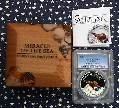 2016 PCGS PR 69 D-Cam Proof Palau Miracle of the Sea REAL PEARL Silver $5 Coin