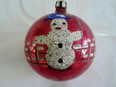 """2 RED VINTAGE 2.5"""" FANTASIA  SNOWMAN and BELLS CHRISTMAS ORNAMENT"""