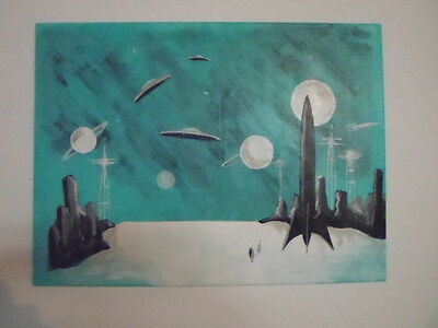 Space 50's hand painted, abstract art 16x20 canvas wall decor