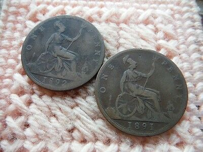 UK Great Britain 1891, 1892 Penny Victoria Lot of 2