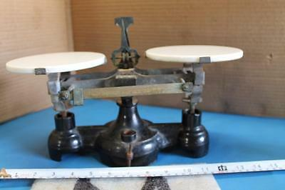 Vintage Cast Iron Balance Scales Apothecary / Bakery Marble Granite Top Heavy