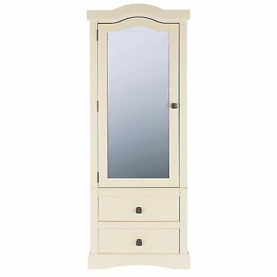 Wardrobe 1 Door 2 Drawer Mirror Labille French Ivory Painted Bedroom Furniture