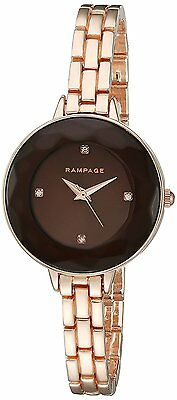 Rampage Women's Brown Dial Metal Alloy Rose Gold-Toned Bracelet Fashion Watch