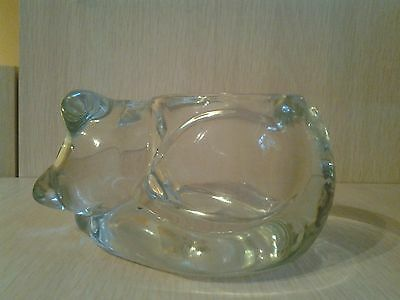 Vintage Indiana Glass Sleeping Cat Votive Candle Holder Crystal Clear Rare