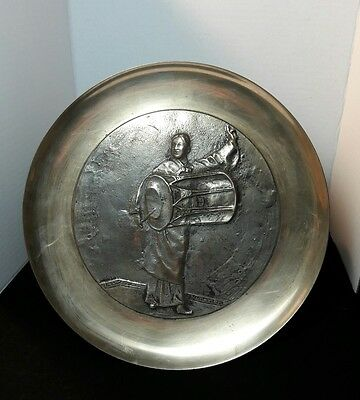 Vintage Korean Brass Wall Hanging Plate Drummer Girl.