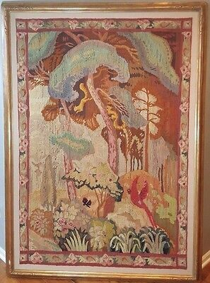 20th Century French Art Deco Tapestry Framed Preserved Colorful Nature Scene