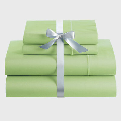Queen Size Bed 4 Piece Soft Sheet Set,Flat,Fitted,Pillowcase-Pistachio Color