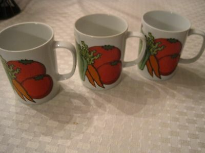 Fitz and Floyd Vegetable Design Mugs (3 in lot)