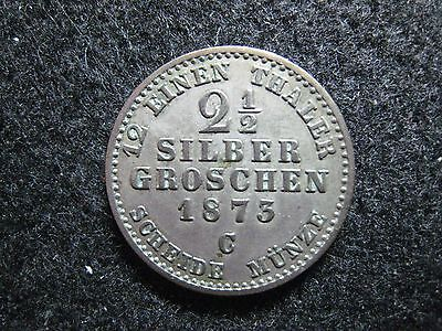 1873C German State Prussia 2 1/2 Silver Groschen Circulated KM 486 Nice !