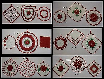 6 Vintage Lots Of 3 Red & White Crocheted Pot Holders