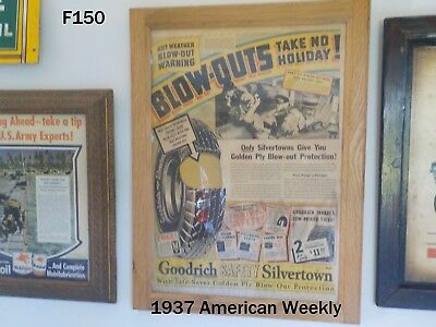 Vintage Bf Goodrich Tires Silvertown 1937 American Weekly News Paper Ad Framed